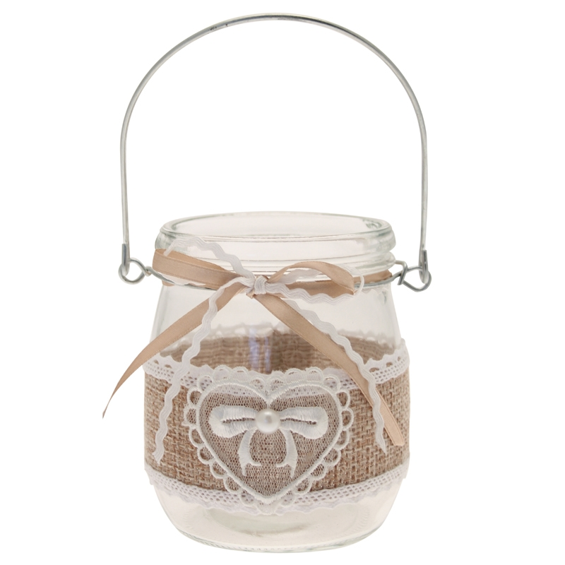 T light holder hessian lace