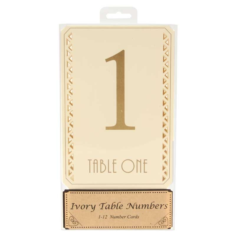 Cream table numbers 1-12