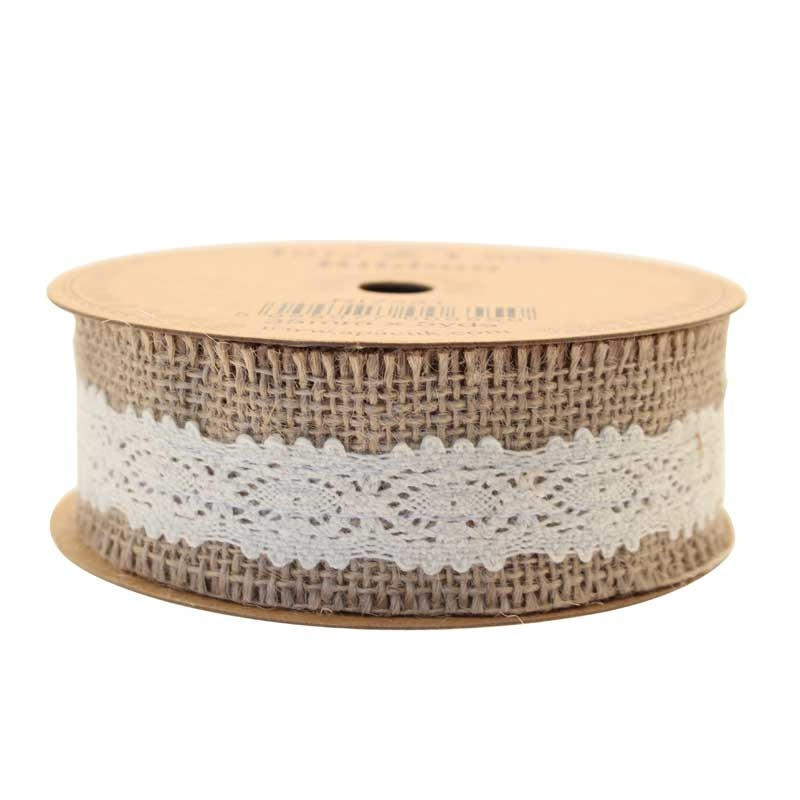 Jute with Cream Lace Ribbon RI7323