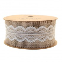 Jute with Cream Lace Ribbon 50mm RI7319